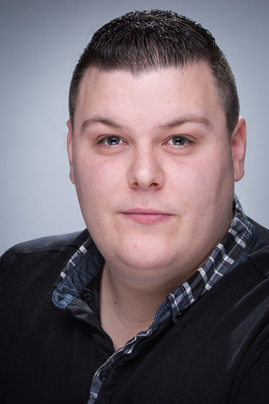 formal male actor studio headshot