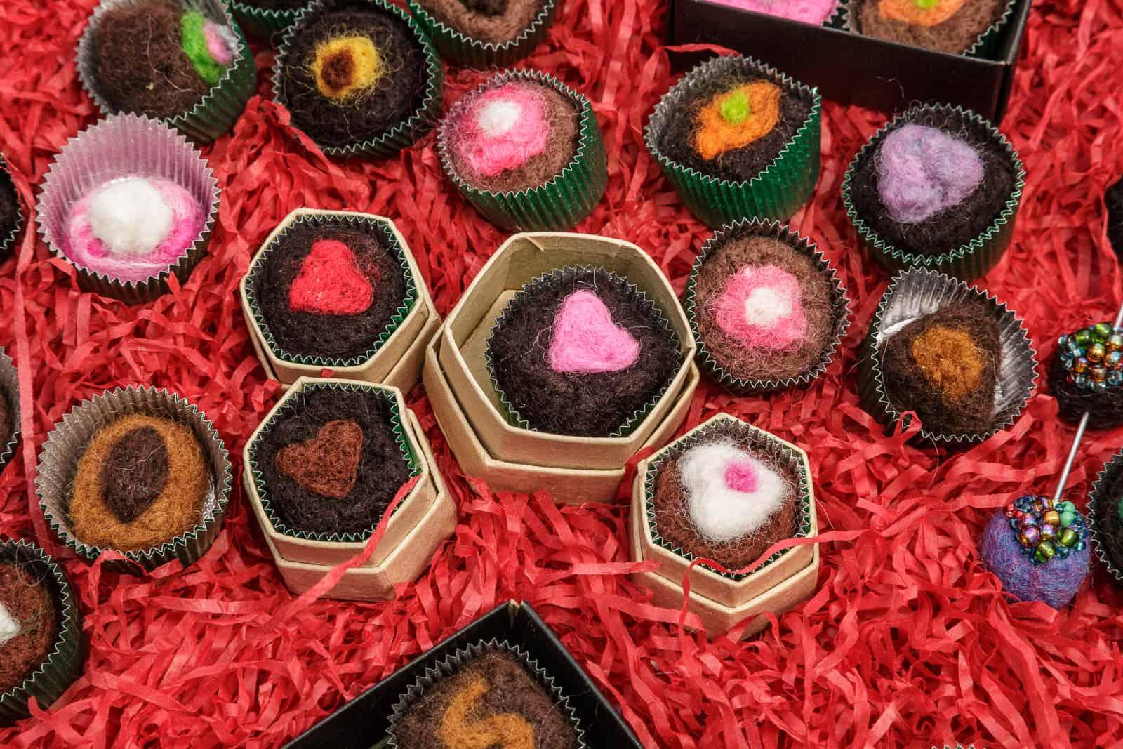 artists handmade felt chocolates in miniature product presentation box