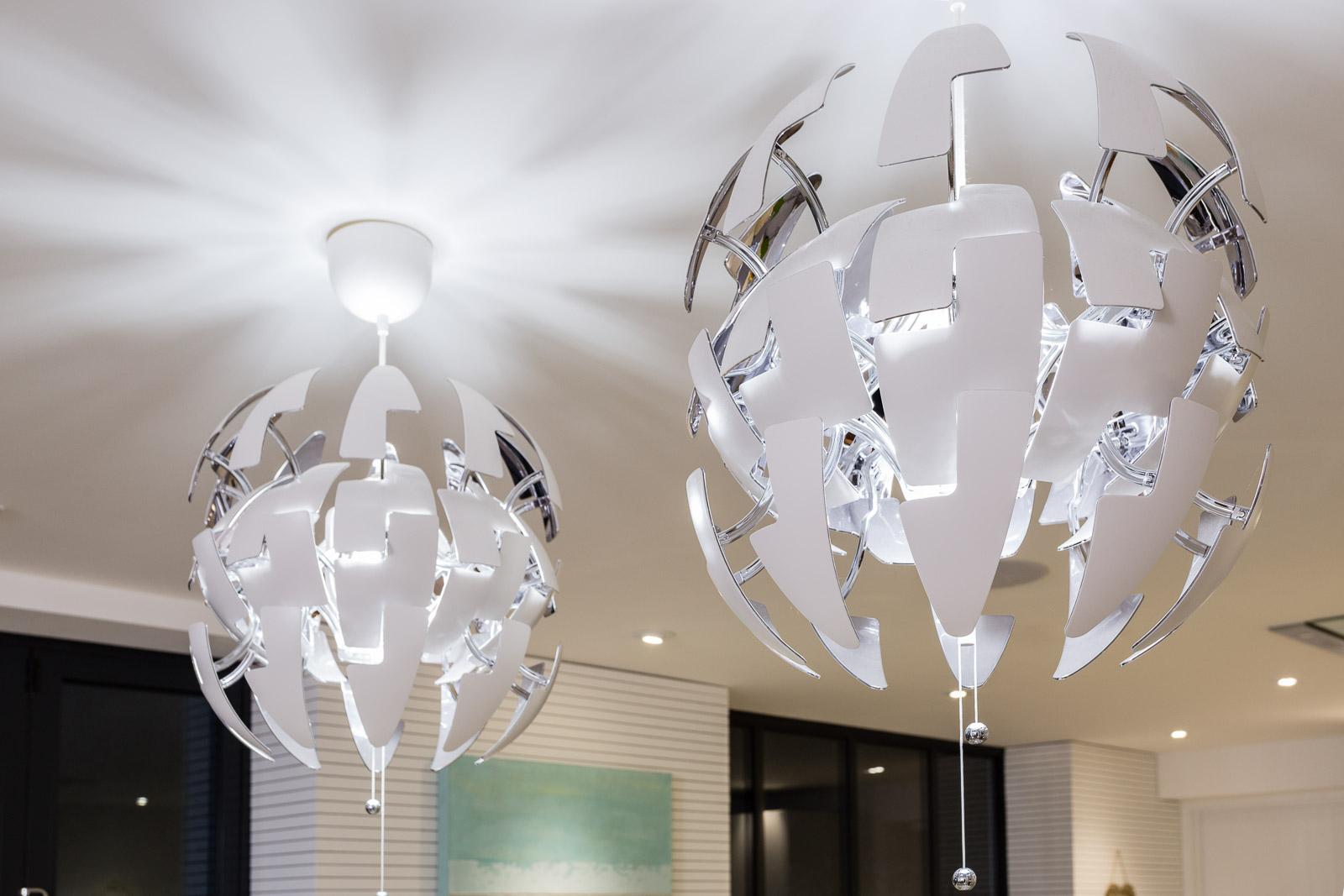 feature star wars lampshades in modern kitchen