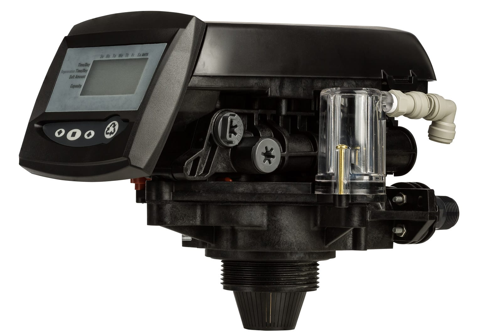water softener pump with timer on white background
