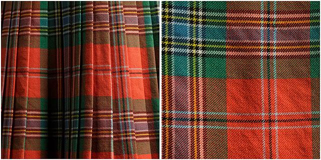 scottish bagpiper Clan MacLean kilt and close up of tarten pattern