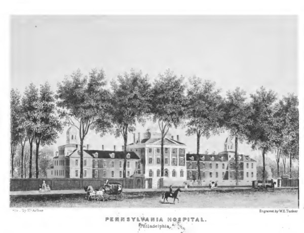 Philadelphia Hospital. Undated lithography likely derives from mid 1800s and incorporates original wing on right.