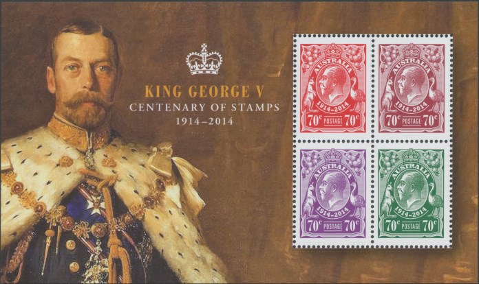 Australia Stamps SGMS4189 100th Anniversary King George V Stamps Miniature Sheet