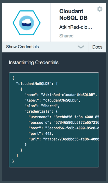 Cloudant Credentials