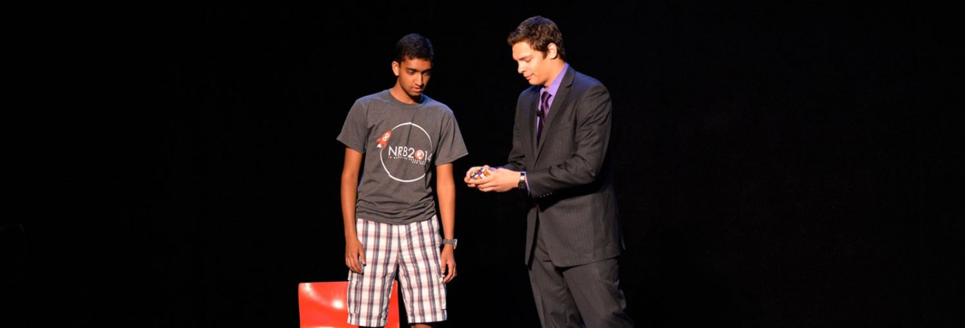 College Magician Steven Brundage performs magic at a college