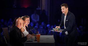 Magician Steven Brundage performs for judges on Americas Got Talent