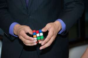 Magician Steven Brundage performing Rubik's Cube Magic