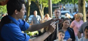 Magician Steven Brundage performs a rope trick