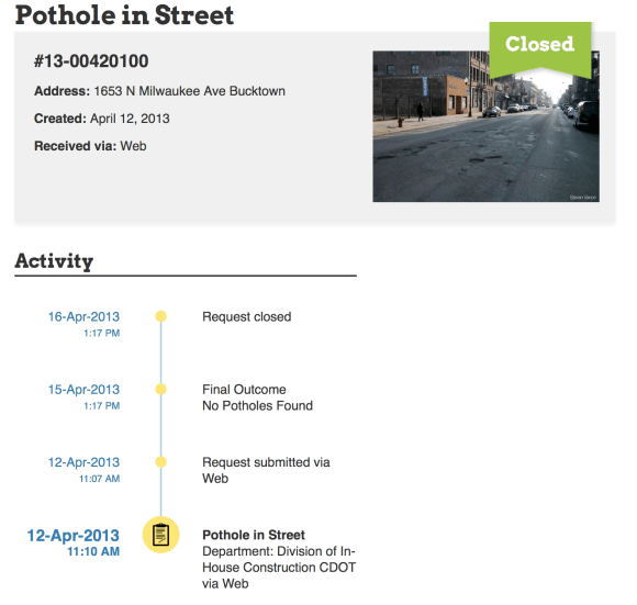 311 report for a pothole