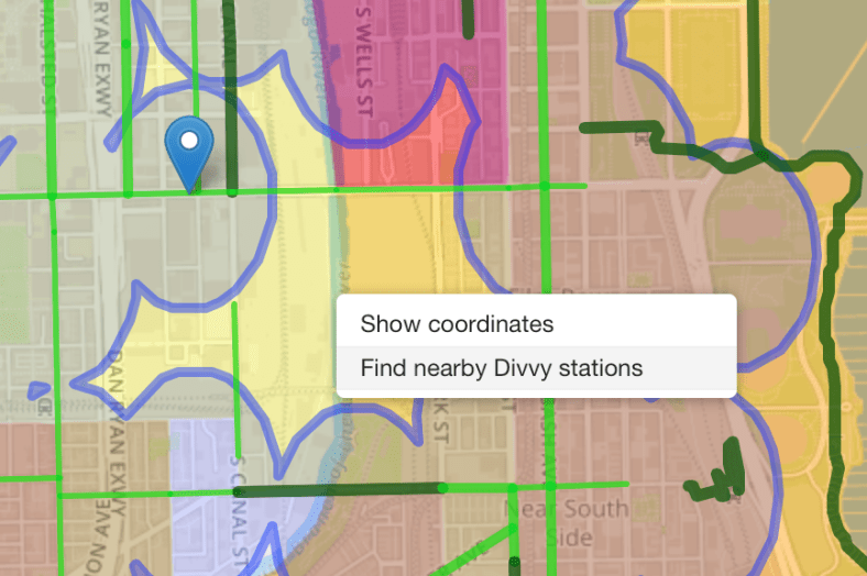 "Right-click the map and select ""Find nearby Divvy stations"" and Turf will locate the nearest Divvy station."