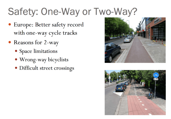 This slide from an APBP webinar briefly lists why a two-way cycle track may be better than a one-way cycle track.