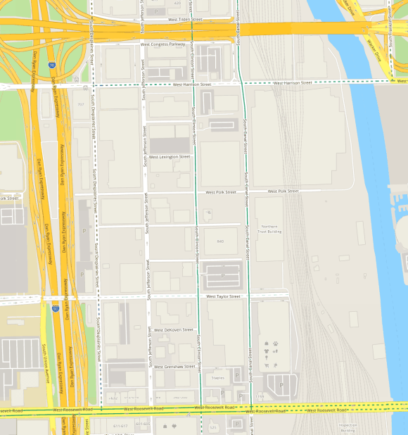 The area is generally bounded by Harrison Street or Congress Parkway, Dan Ryan Expressway or Desplaines Street, Roosevelt Road, and the Chicago River.