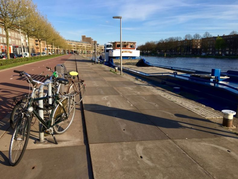 My bike parked on the canal in front of my flat
