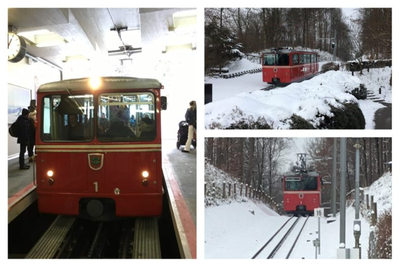 The Dolderbahn heads up the hill from Romerhof to the Dolder recreation area. At least half of the passengers today were children going with their parents and friends to sled down a hill there.