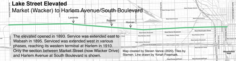 Map of the Lake Street Elevated, from Market Street (now Wacker Drive) to Harlem Avenue and South Boulevard.