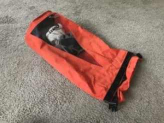 Orange dry bag for use with watercraft