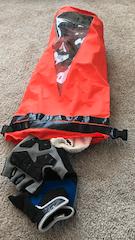 jet ski dry bag orange gloves