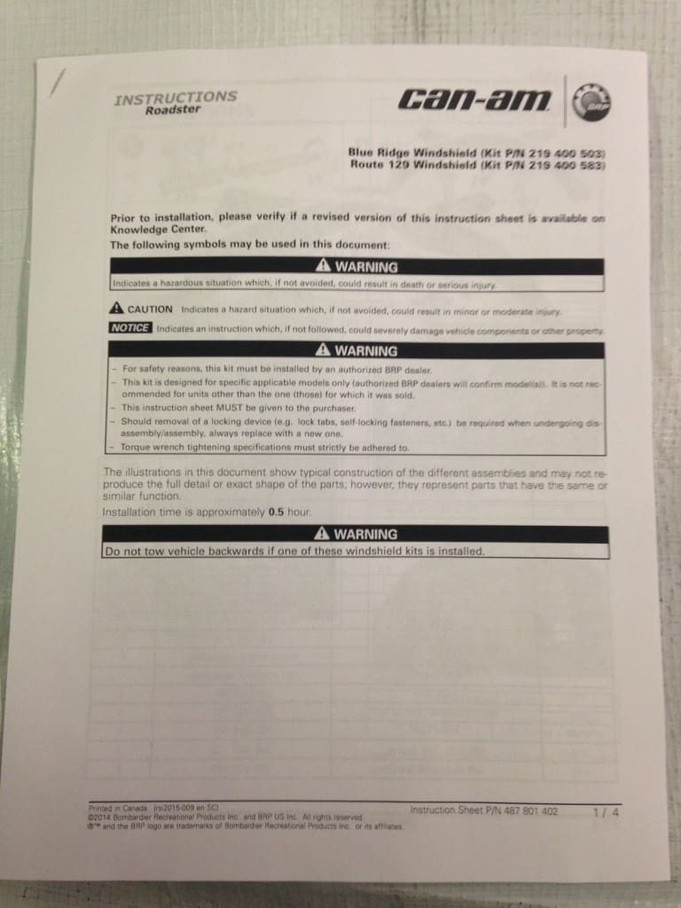 front cover of the install sheet