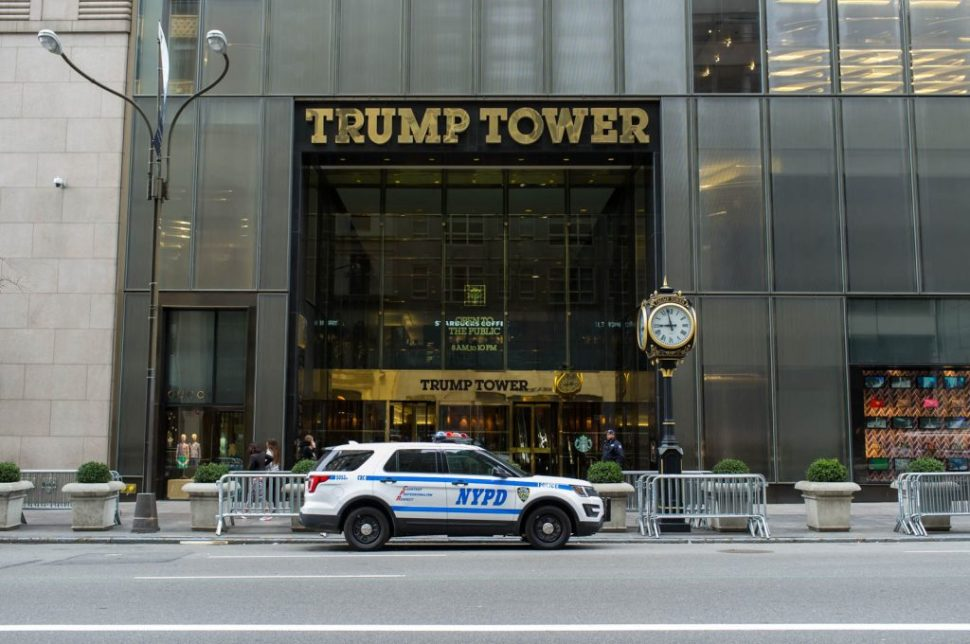An NYPD 4x4 Stands Outside Trump Tower