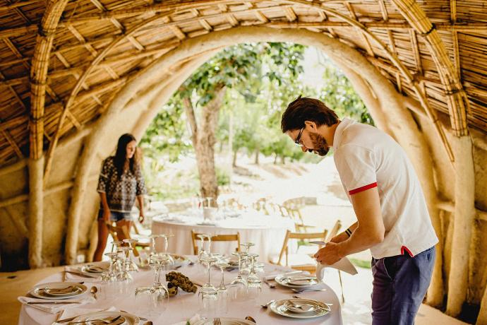 photo of getting the tables ready at the wedding