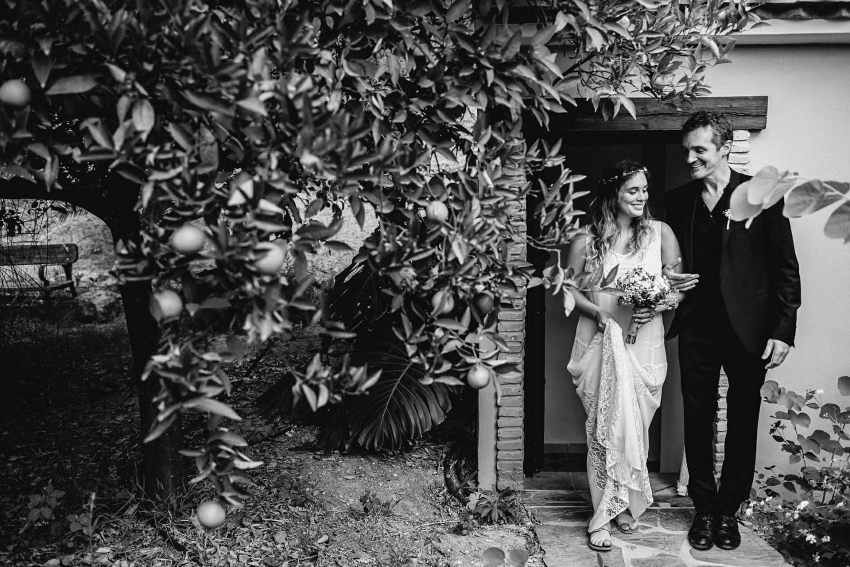 the bride and her father photo before the wedding at the cas ade laila