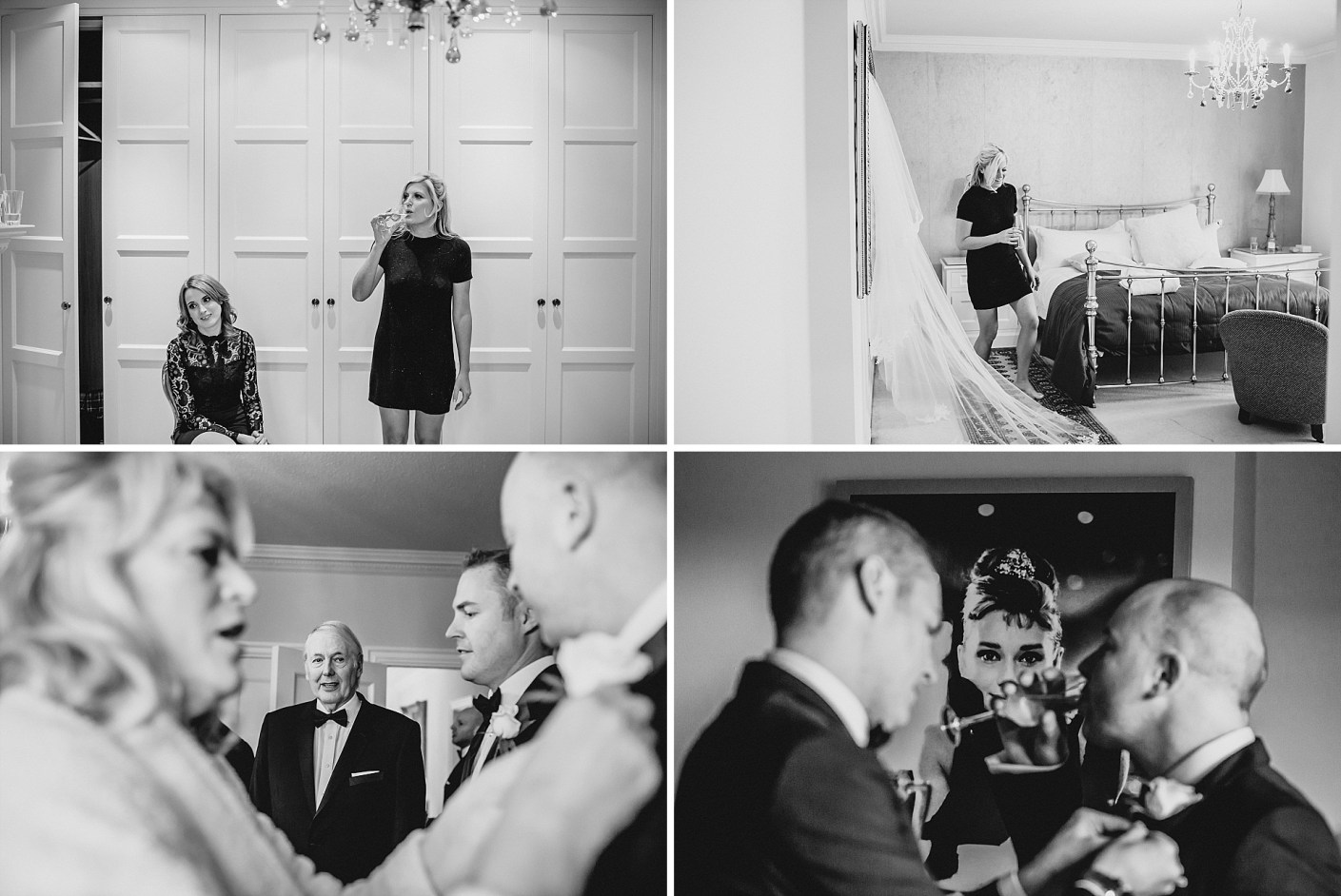some black and white photographs of the getting ready bit