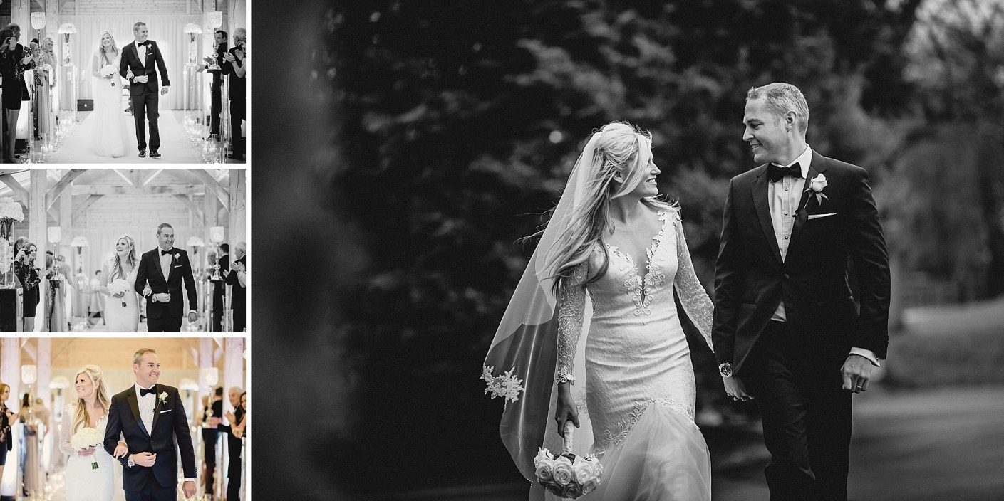 walking to the wedding reception in black and white