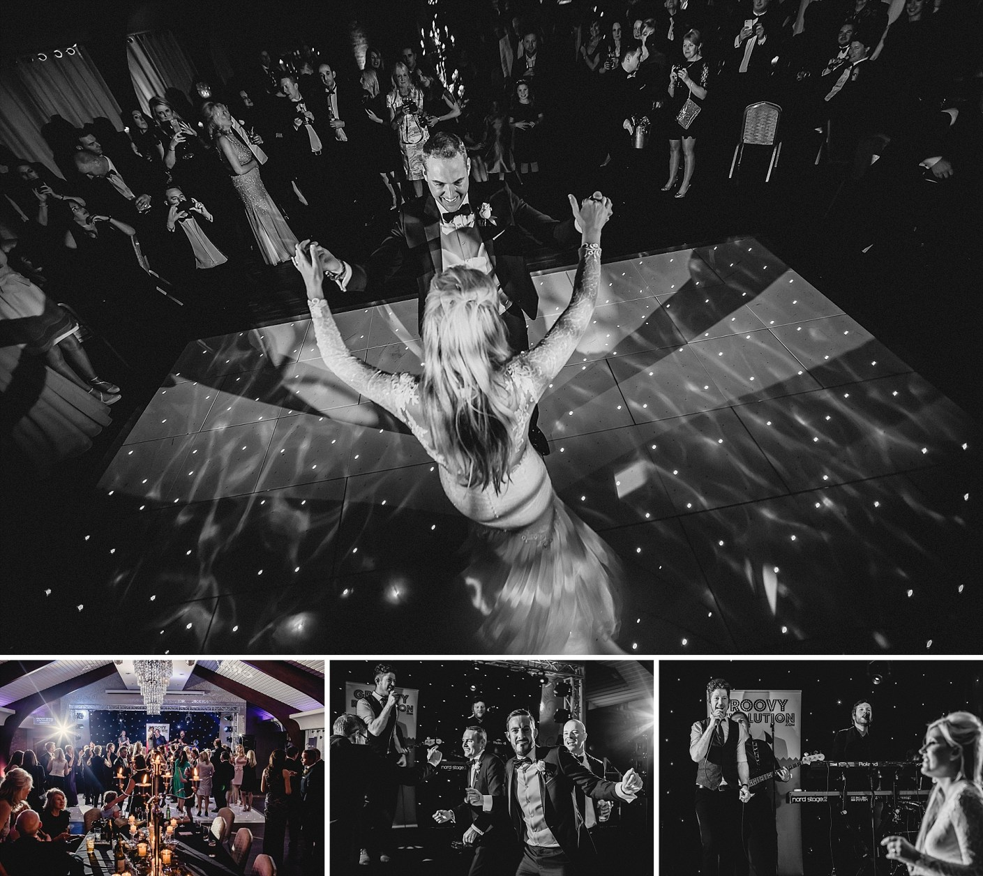 dancing bride and groom at colshaw hall