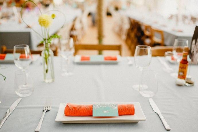 wedding breakfast in the marquee