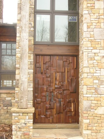 Walnut door with randomized pieces