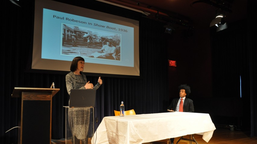 Stevens Professor Lindsey Swindall gives a presentation on Paul Robeson in Princeton