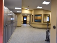 Left, new client lockers; right, Administrative Assistant, Lorrie Joos' office