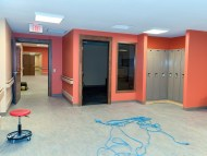 Avocation office and lockers. Exit door goes to dining area