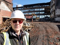 Final days of demolition at Ray Mill, Stalybridge.