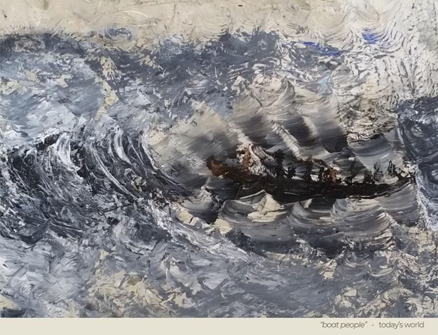 """Boat people, today's world"" - Peinture - Painting - Visa Mundi - Steve Shehan"