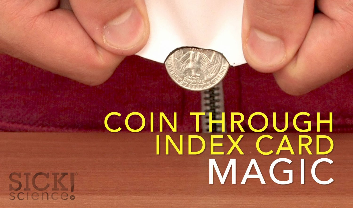 Coin Through Index Card Magic Sick Science 053