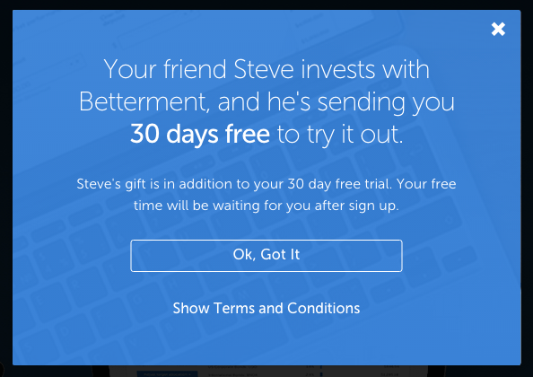 Open an IRA or education savings account with betterment and get 30 days free (no fees)