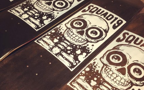 Hand printed skateboards for Squad19