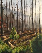 burned forest in yellowstone oil painting