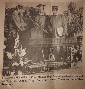 speaking at Coon Rapids Graduation 86