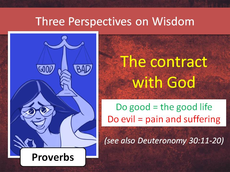 Proverbs is a young, smart, idealistic teacher who tells us that God weaves the universe together through wisdom. There is a pattern of justice.