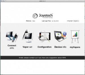 Joyetech MVR 1.2 mac and PC main menu