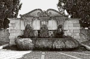 Moss face fountain, Lourmarin, France.