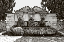 Moss face fountain, Lourmarin, France.