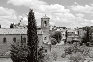 The Protestant church, with the village in the background, Lourmarin, France.