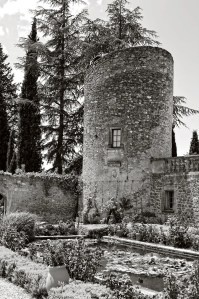 Tower in courtyard of the Château-Vieux, Lourmarin, France.