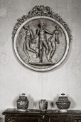 Large medallion from the Fontainebleau school depicting the Three Graces, located in the Sallestre of the Château-Vieux, Lourmarin, France.