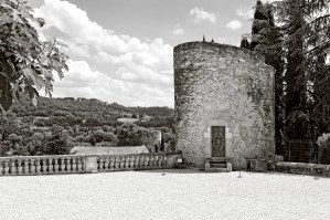 Courtyard and small tower in the Château-Vieux, Lourmarin, France.