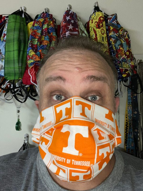 University of Tennessee Face Mask - An Orange and White Face Mask with the Power T on it. #GoVols #UTK