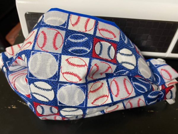 Baseball Face Mask - a Red, white and blue colored baseball-themed face mask. #Baseball
